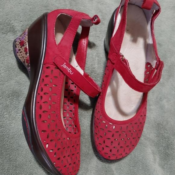 Jambu heeled leather sandals - red